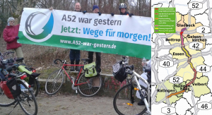 Karte der geplanten Transitautobahn, Aktion am 18.3.2016 in Essen