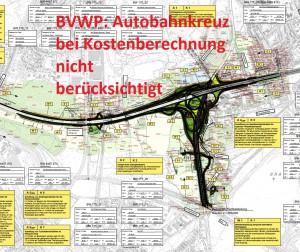 Die Karte zeigt den Plan des Autobahnkreuzes, dessen Kosten im Bundesverkehrswegeplan nicht eingerechnet wurden